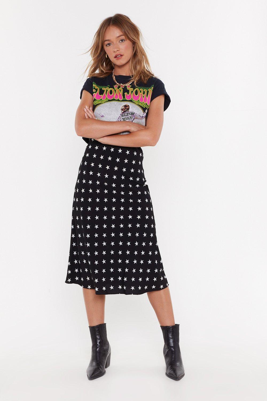 Star Print Bias Cut Midi Skirt