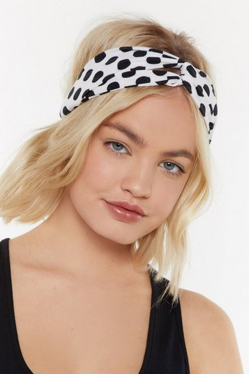 Womens White Polka Dot Woven Headband