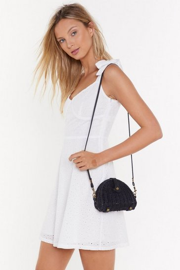Womens Black WANT Straw and Order Crossbody Bag