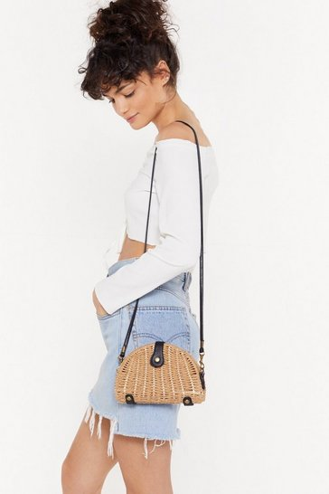 Womens Tan WANT Straw and Order Crossbody Bag