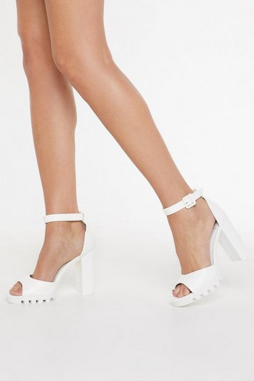 Womens White Bare Your Sole Cleated Faux Leather Heels