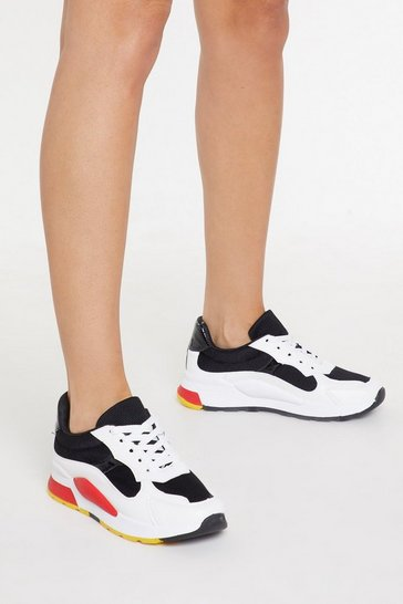 Womens Black Colour Block Trainers