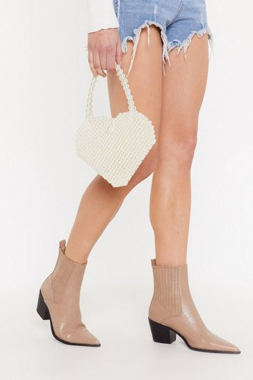 Womens White WANT Find It in Your Heart Pearl Bag