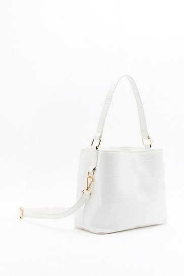 Womens White WANT Turn Back the Clock Faux Leather Bucket Bag