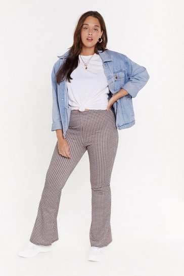 MS Tweed Check Flared Trouser, Tan, FEMMES
