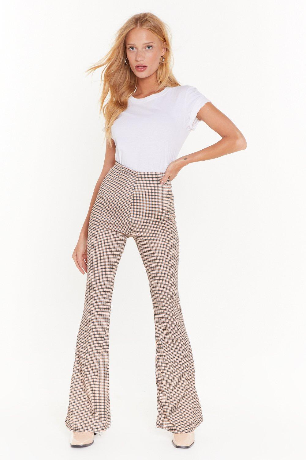 Ms Tweed Check Flared Trouser by Nasty Gal