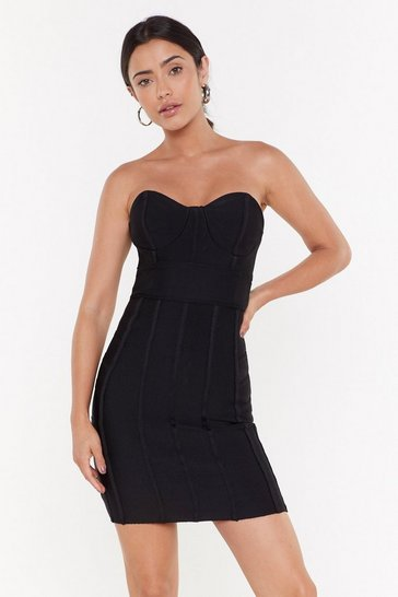 Womens Black Bust My Luck Strapless Bandage Dress