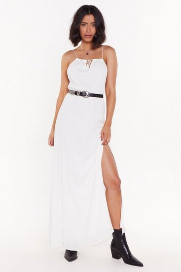 Womens Ivory Let's Do Slit Again Tassle Maxi Dress