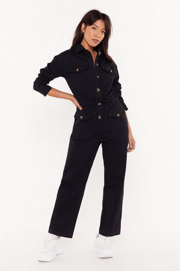 Womens Black Girl Got GameTortoiseshell Button-Down Boilersuit