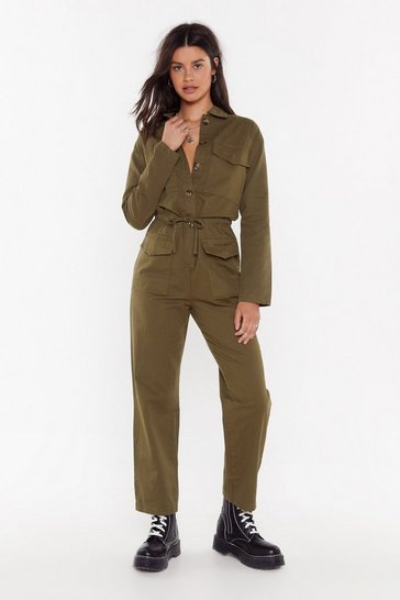 Womens Khaki Girl Got GameTortoiseshell Button-Down Boilersuit
