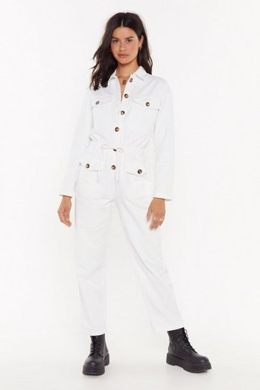 Womens White Girl Got GameTortoiseshell Button-Down Boilersuit