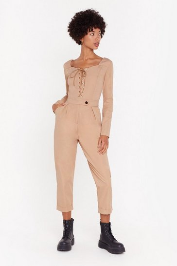 Womens Stone Get One String Right Lace-Up Jumpsuit