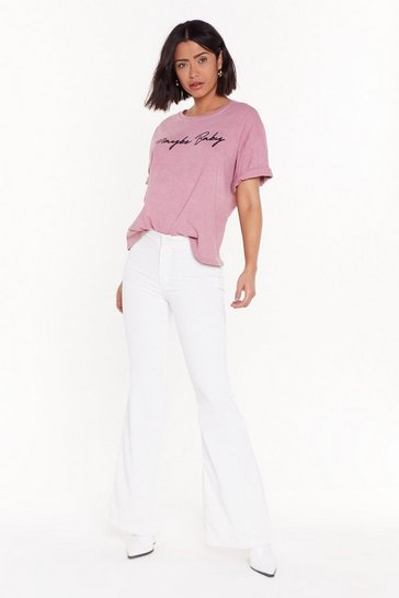 Womens White Breaking Re-cords Wide-Leg Pants