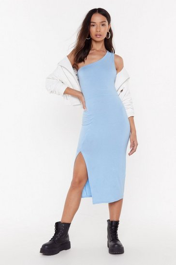Womens Denim-blue I'll Make Your Heart Race One Shoulder Maxi Dress