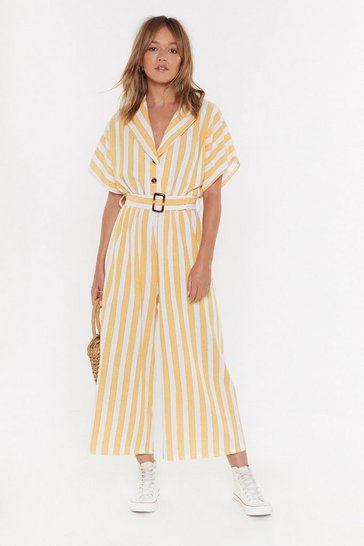 Womens Mustard Stripe Button Belted Linen Jumpsuit