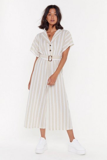 Womens Stone Stripe Button Belted Linen Jumpsuit