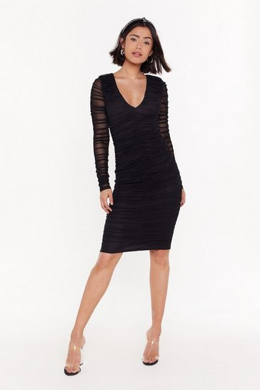 Womens Black Mesh Who's Back Ruched Midi Dress