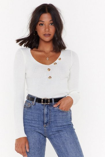 Womens Ecru Between V and You Knit Sweater