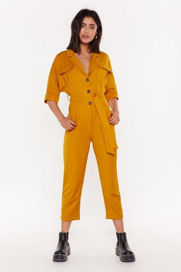 Womens Mustard Work It Girl Button-Up Boilersuit