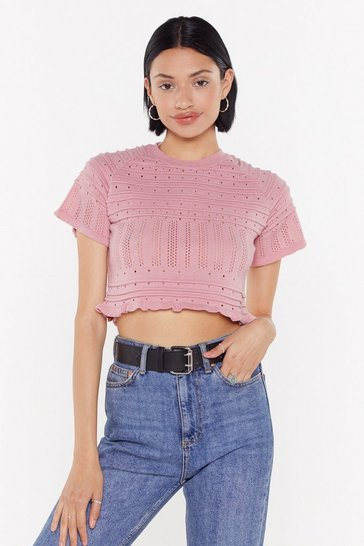 Womens Blush Pointelle Ribbed Lettuce Hem Crop Top