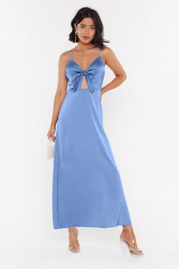 Womens Denim-blue Of Course Knot Satin Tie Midi Dress