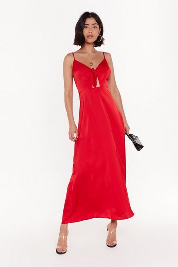 Womens Red Of Course Knot Satin Tie Midi Dress