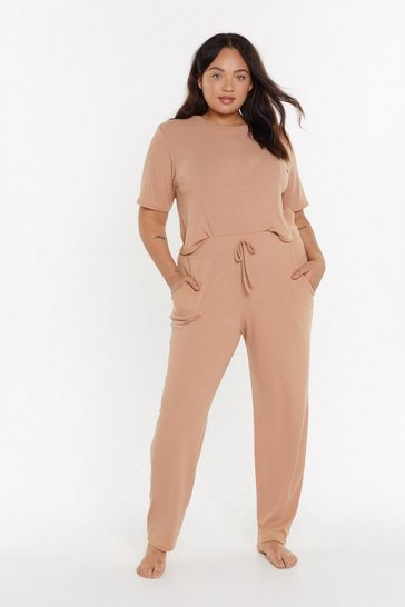 Womens Tan MS T-shirt & Jogger Set