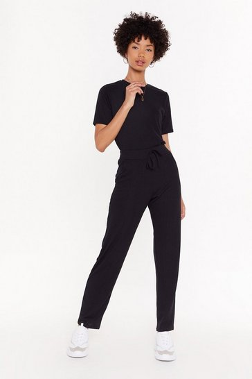 Womens Black MS T-shirt & Jogger Set
