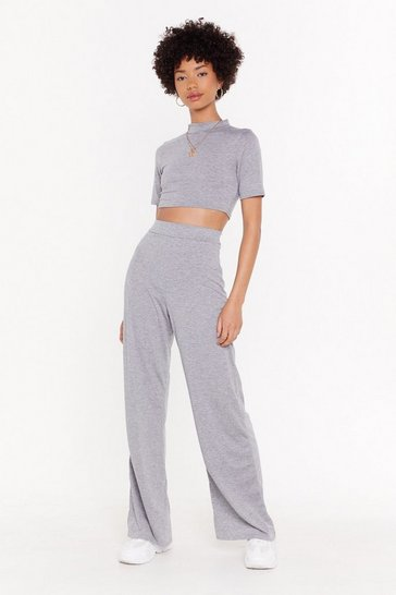 Womens Grey Wide Leg & Sweat Co-ord Set