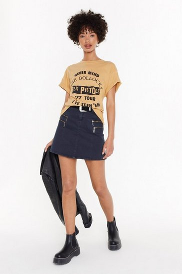 Womens Black Denim Zip Detail Mini Skirt