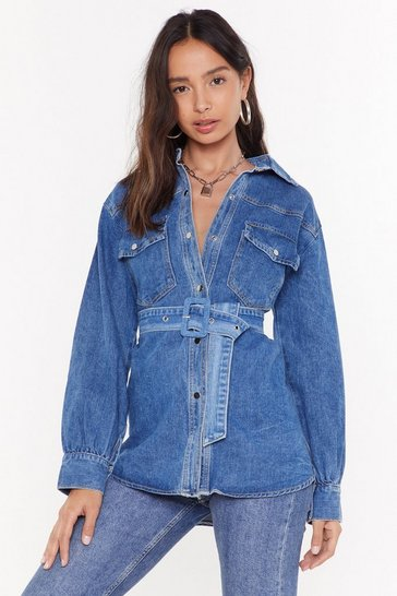 Womens Mid wash Belt Thing I Never Had Belted Denim Jacket