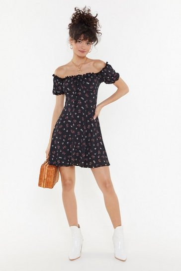 Black All We Grow Floral Mini Dress