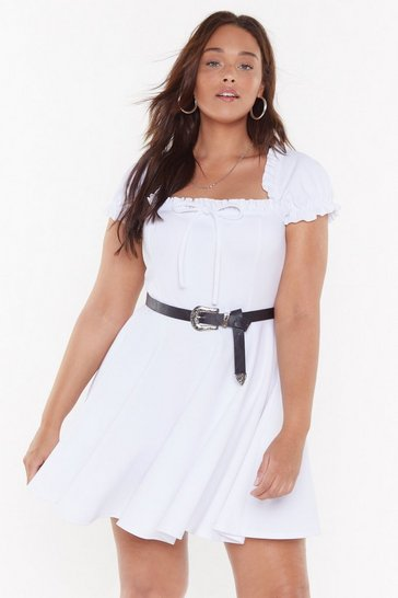 Womens White Puff Sleeve-ing You Behind Plus Mini Dress