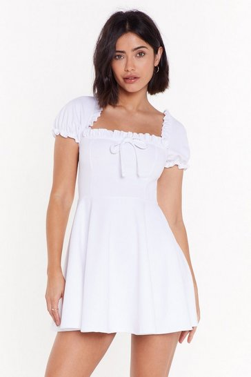 Womens White Puff Sleeve-ing You Behind Square Neck Mini Dress