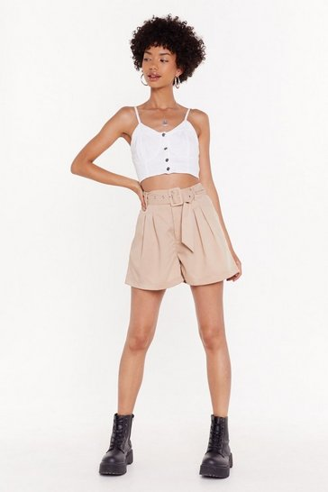 Womens Stone Belted Shorts