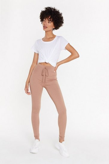 Womens Tan Tie Waist Rib Legging