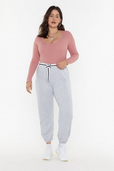 Womens Grey marl Cuffed Basic Joggers