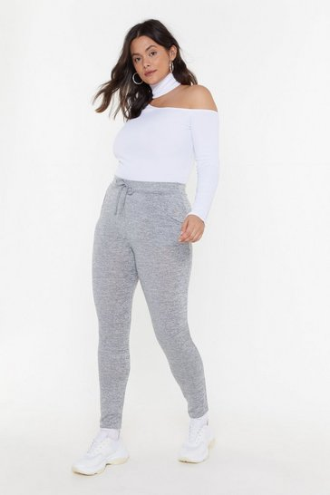 Womens Grey marl Running Out Plus Skinny Joggers