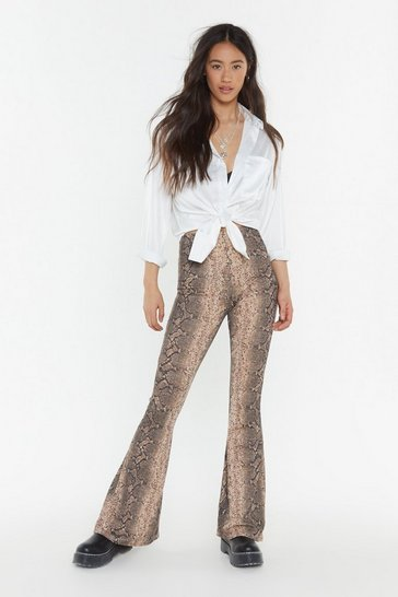 Womens Brown You Snake Me There Flare Trousers