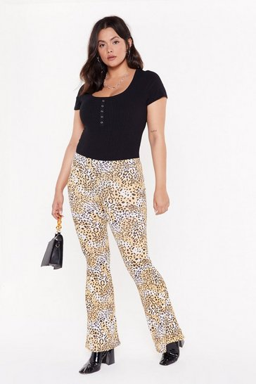 Womens Camel On Your Tail Animal Flared Plus Pants