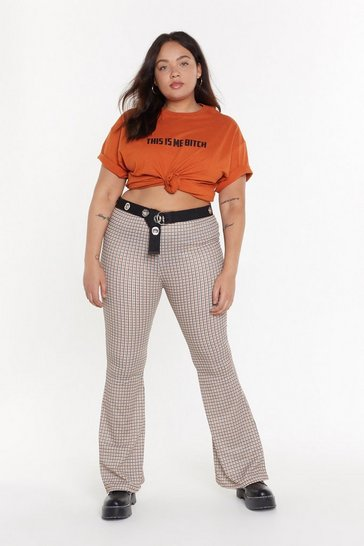 Womens Tan MS check Flared Trouser