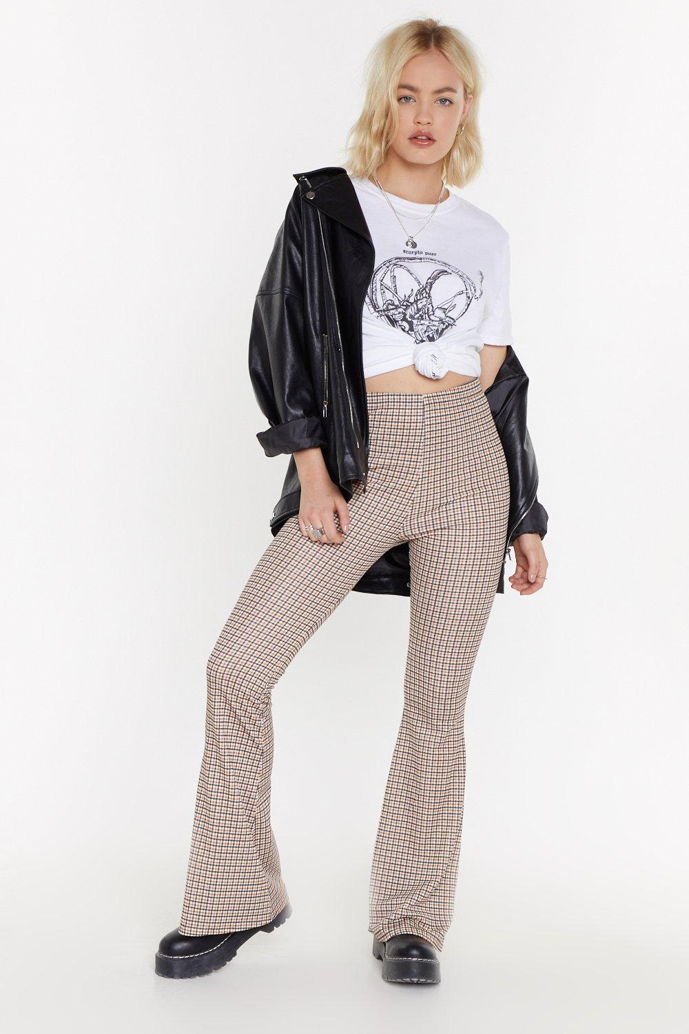 Ms Checked Flared Trouser by Nasty Gal