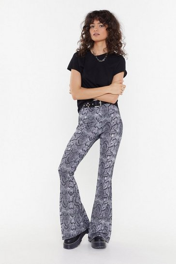Womens Grey MS Snake Flared Pant