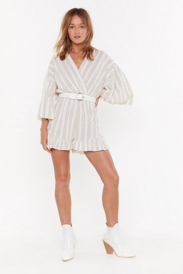 Womens Stone Love at First Stripe V-Neck Ruffle Playsuit