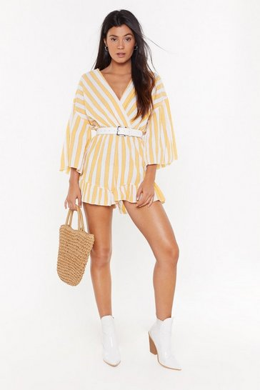 Womens Yellow Love at First Stripe V-Neck Ruffle Romper
