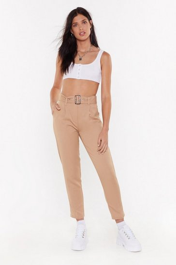 Womens Taupe Tortoise Belted Trousers