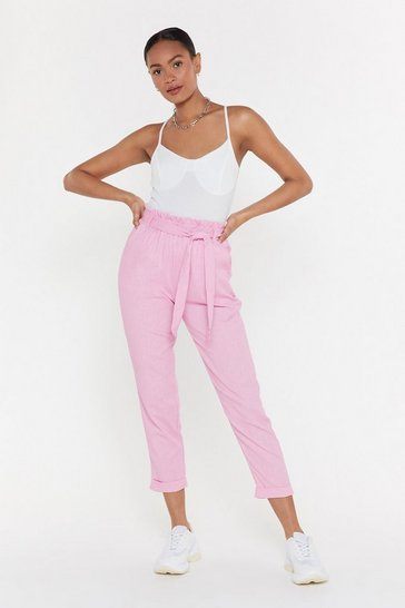 Womens Pink Tall Order Paperbag Linen Trousers