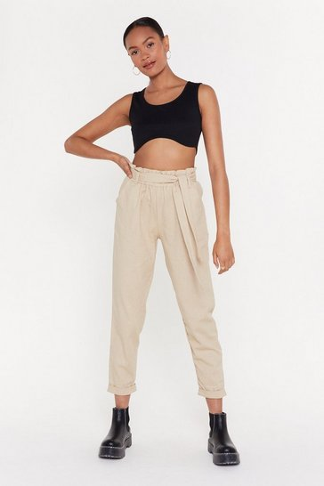Womens Stone Tall Order Paperbag Linen Trousers