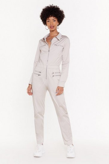 Womens Beige Zip Front Detail Boilersuit