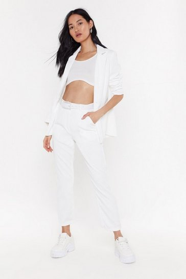 Womens White Cord Suit Trousers